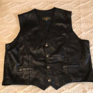 vintage 1970's Vera Pelle black leather Vest L